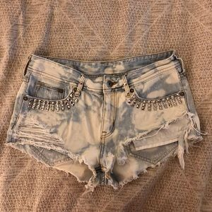 Studded Distressed Cutoff Shorts